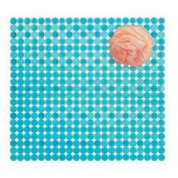 Mdesign moderno tappeto doccia rettangolare in pvc – tappeto antiscivolo con ventose – tappetino bagno di design – pvc blu