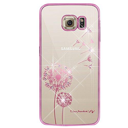 iPhone 5 Hülle,iPhone 5S Hülle,iPhone SE Hülle,EMAXELERS Hard PC Case Phone Holster Transparent Handy-Tasche Hülle für Apple iPhone 5/5S/SE Hülle Löwenzahn Pattern Etui Schlank Fest Hülle Diamond Blin Pink Dandelion