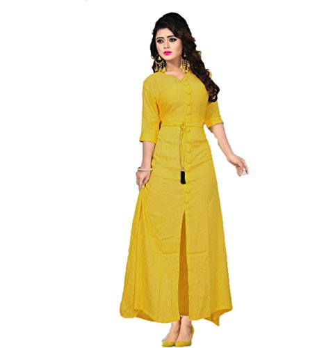 Vaidehi Creation Women long sleeve V-neck Reyon Cotton Stretchy Long Dresses At...