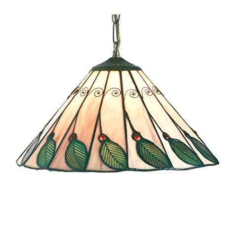 LEAF6 40cm Green Leaf Tiffany Ceiling Pendant