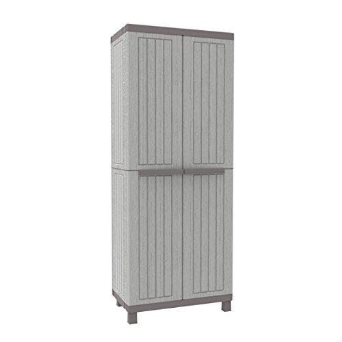 Terry C-Wood 2680hoher Schrank aus Kunststoff mit mehreren Einlegeböden, grau/taupe, 68x 39x 170cm -