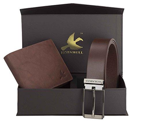 Hornbull Men's Brown Wallet and Belt Combo BW9246