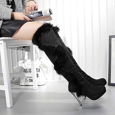 LFNLYX Damen-Stiefel-Party & Festivität / Kleid-Kunstleder-Stöckelabsatz-Plateau / Modische Stiefel-Schwarz / Rot Black