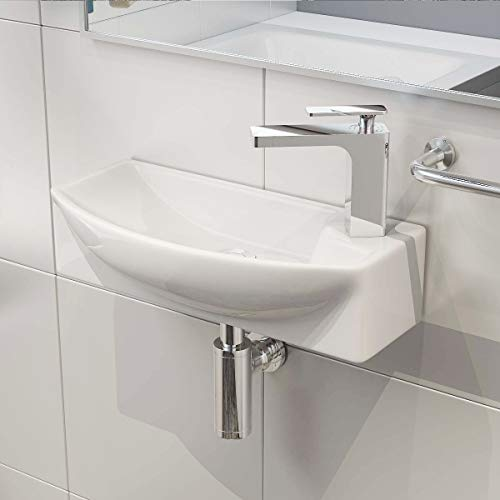 Keramik-waschtisch Top (Waschbecken24 BxTxH: 45x27x15 CM KERAMIK AUFSATZBECKEN WASCHBECKEN WASCHTISCH WASCHSCHALE WANDMONTAGE GÄSTE WC A292)