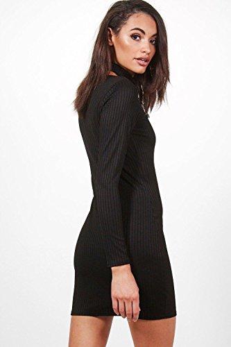 Damen Khaki Lilly Langärmeliges, Geripptes Bodyconkleid Mit Vorderseitiger Schnürung Khaki