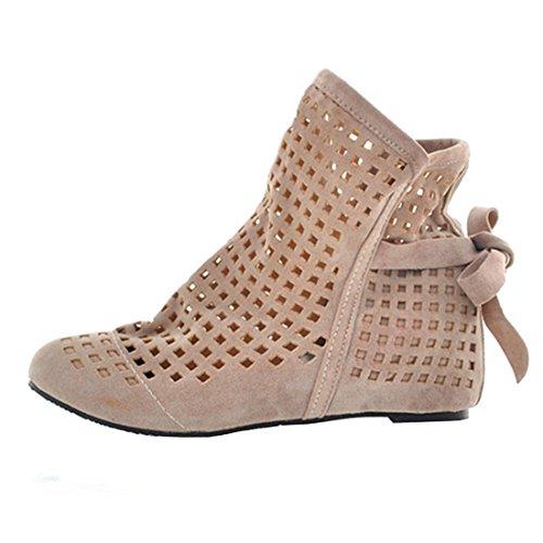 bege Boots Sandálias Confortáveis De Sapatos Cortar Mulheres Com Vós Ankle Rendas Plana Verão qTE7BPwxS