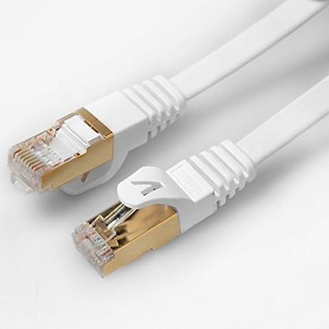Veetop hochgeschwindigkeit flach SSTP Cat7 10Gigabit netzwerkkabel ethernet lan (Rj45) patchkabel/UTP/kompatible zu Switch/Router/Modem/Patchpannel/Access Point/Patchfelder mit Goldenem Stecker 100% Zufriedenheit Garantie(0,5m/1,6ft, Weiss)