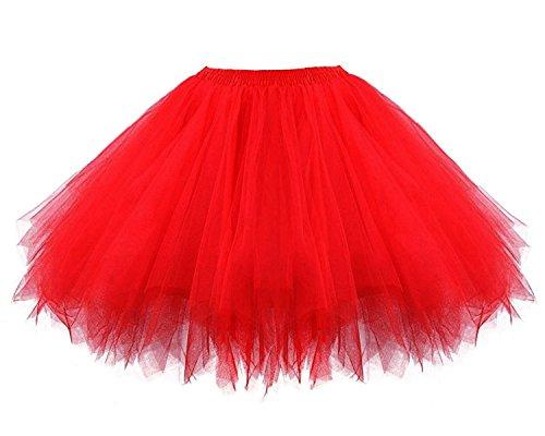 Facent Mädchen Kinder Kurz Tutu Rock Tüllrock Tütü Crinoline Minirock Reifrock Unterrock Kleid Tüll (Tutus Rote)