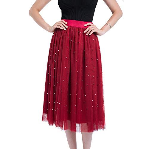 VEMOW Heißer 50er Elegante Damen Petticoat 4 Schichten Mesh Tüllrock Plissee Prinzessin Rock Mesh Bubble Rock für Rockabilly Kleid(Rot, Freie Größe)