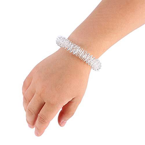 Akupressur Massage Ringe, Akupunktur Armband Handgelenk Massage Entspannung Lieferungen Edelstahl Handgelenk Hand Massage Ring (Silber)