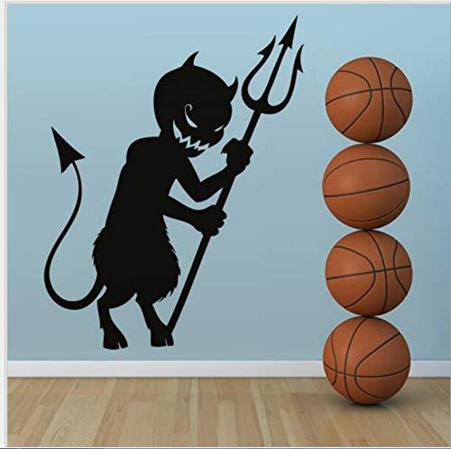 (Pvc Wandaufkleber Teufel Harpune Schwarz Wandaufkleber Wanddekoration Kreative Cartoon Kinderzimmer Aufkleber)