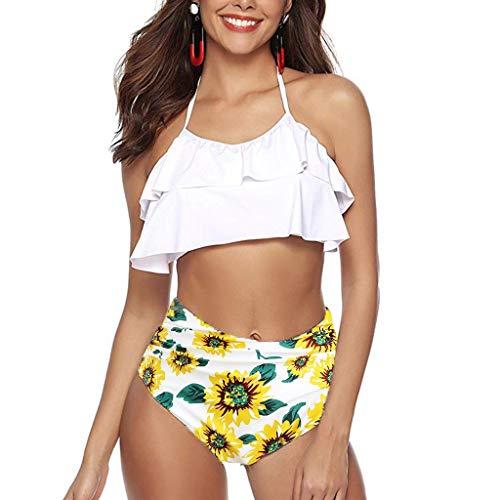 Halfter Krawatte Hals Mini Kleid (hmtitt Damen Swimwear hoch taillierte sexy rückenfreie Halfter gepolsterte Bikini Set Zweiteilige Strand Badeanzüge mit Blumenmuster gekräuselten Badeanzug Plus Size)