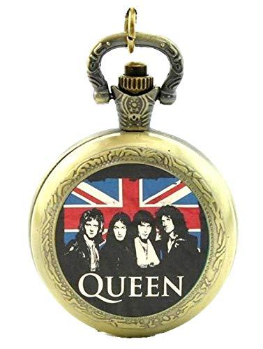 Queen Rock Band Themed Quarz-Taschenuhr Halskette, Antik Bronze Effekt-in Geschenkbox mit gratis Ersatz Batterie
