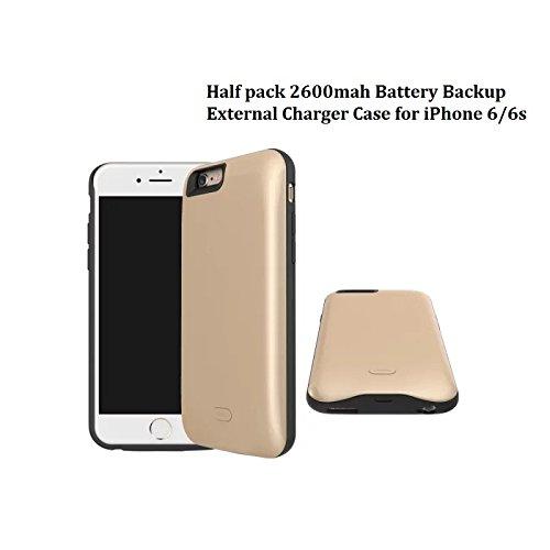 SYR chargeur de batterie Cases pour iPhone 6/6s, Neuf Demi Lot batterie de secours externe Chargeur de téléphone portable Coque pour iPhone 6/6s doré