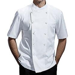 Chaqueta de chef Ropa de trabajo uniforme de algodón transpirable de manga corta de algodón CFM0029 (Blanco, S)