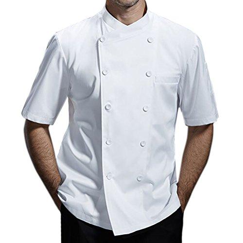 Nanxson Giacca da Cuoco Manica Corta da Uomo in Cotone Traspirante da Cucina Uniforme da Lavoro CFM0029 (M, Bianco)