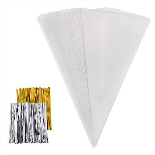 outus-100-pieces-cone-bags-clear-cello-bags-treat-bags-with-50-gold-and-50-silver-twist-ties-for-swe