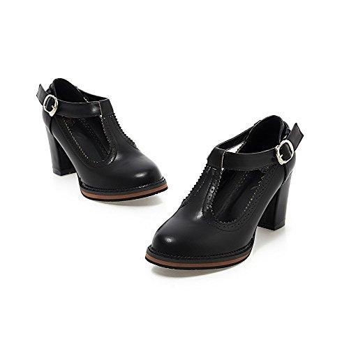 VogueZone009 Femme Pu Cuir Couleur Unie Boucle Rond à Talon Haut Chaussures Légeres Noir