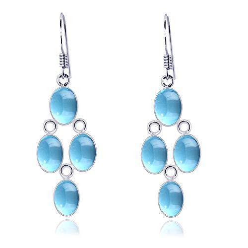 Pendientes de plata con topacio azul