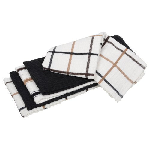Set Di 100% Cotone Assortiti Tè Per Cucina Piatto Asciugamani Asciugatura Panni Bundle Pack - Nera / Marrone, 10 Pack