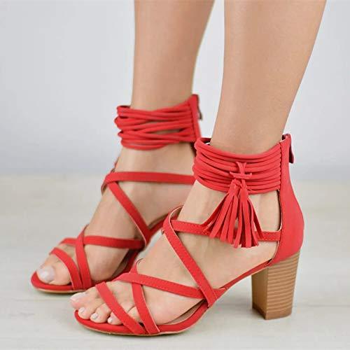 MENGLTX High Heels Sandalen 2019 Neue Ankunft Frauen Gladiator Sandalen Sommer Schuhe Rom High Heels Party Prom Kleid Schuhe Frau Große Größe 48 15 Rot