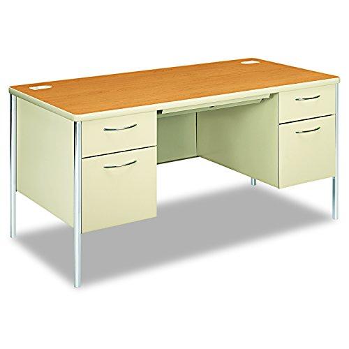HON Mentor S Schreibtisch mit 1Box/1Datei Schublade 15,20 m (60 Zoll) B x 7,60 m (30 Zoll) Durchmesser Double Pedestal Desk Harvest/Putty