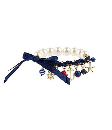 SIX - Damen Charm-Armband, elastisch, weiß, gold, blau (442-724)