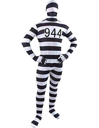 Adult Convict Prisoner Robber Halloween Fancy Dress Costume Second Skin Suit