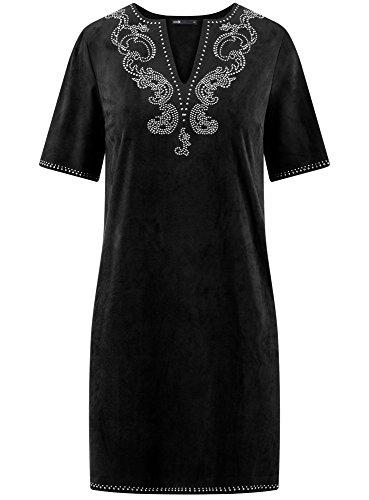 oodji Ultra Damen Kleid in Wildleder-Optik mit Metall-Strasssteinen dekoriert Schwarz (2900N)
