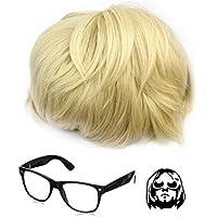 Kurt Cobain parrucca e occhiali Nirvana costume Grunge breve parrucca  capelli biondi alta qualità capelli pezzo 8e7cc11d5b85