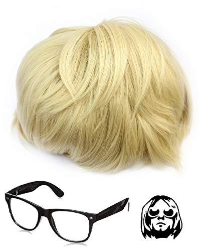 Haaren Mit Kostüm Kurzen - Kurt-Cobain-Kostüm mit Perücke und Brille, Nirvana-Kostüm, Grunge-Stil, kurz, blond, Perücke aus hochwertigem Haar, Smells Like Teen Spirit, Schwarz, Wayleavers
