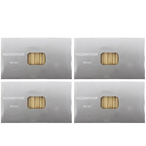 (com-four® 4000 Stück Zahnstocher aus Holz, 65mm lang (4000 Stück - Set3))