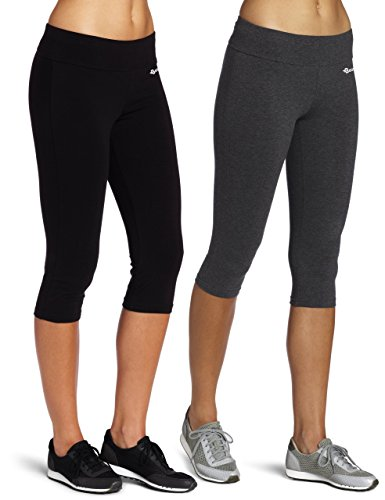 Baomosi Leggings/Caprihose für Damen, Baumwolle, für Yoga, Laufen, Workout Gr. M, 2PACK(Black+Grey) (Plus Damen Size Caprihosen)