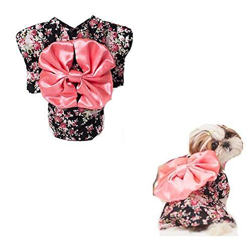 Japanischen Jungen Kostüm - JFFFFWI Hund Katze Kleidung Hund Kleidung Jungen/Mädchen Kätzchen Kleidung Haustier Kleidung Haustier Katze Hund Pullover HoodieSatin Rock, japanischer Kimono CHONGWUYIFU (Farbe: SCHWARZ, Größe: L