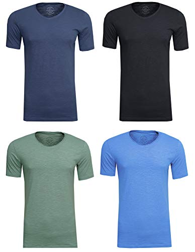 100% Baumwolle V-neck Tee (JACK & JONES Herren T-Shirt JORBirch Tee SS V Neck Basic Slim Fit, (4er Set 1,M))