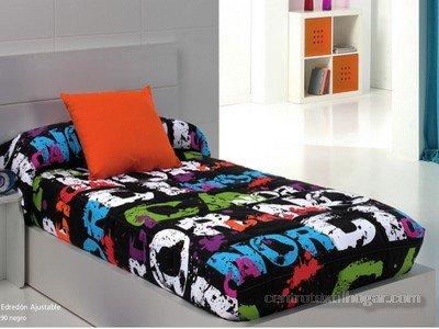 Edredón Ajustable Nórdica negro cama de 90