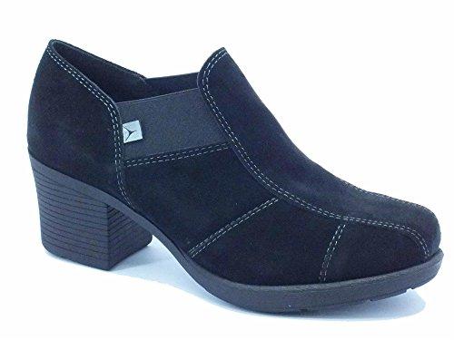 Mocassini Cinzia Soft in camoscio nero tacco alto Nero