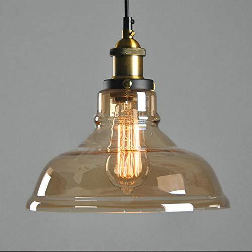 YUHT Glas Pendelleuchte Kreative Vintage Industrie Metall Handgefertigt Einfache Transparente Glas verstellbare Kronleuchter Schatten Loft Pendelleuchte Retro Deckenleuchte Vintage Lampe, Amber - Amber Glühlampe Kronleuchter