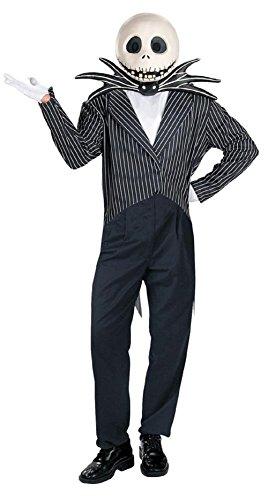 (Mesky Jack Skellington Kostüm Halloween Cosplay Suit Herren Anuzg 4er Set Jacke+Hosen+ Halsschleife+Handschuhe Aus Hochwertigem Wollstoff und Baumwolle Schwarz Weich Bequem)