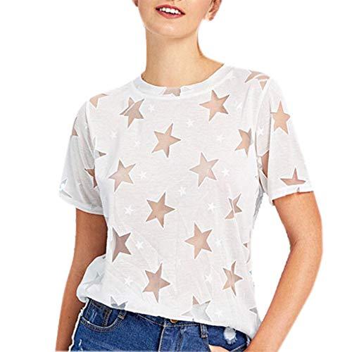 Damenmode Pentagrammdruck Bluse Sommer Lässig Rundhals T-Shirt Sexy Aushöhlen Durchsichtige Kurzarmshirts (Kurzarm-kleid Karriere Frau)