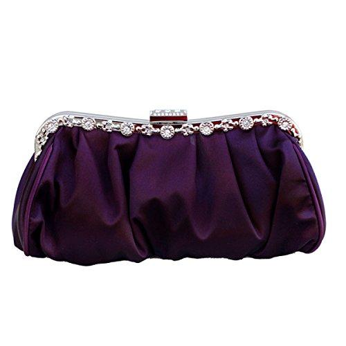 Donne Fibbia Magnetica HandBag Raso Plissettato Clutch Wedding Bag Nuziale Di Promenade Di Sera Purple
