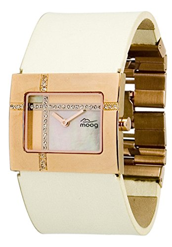 Moog Paris Mondrian Women's Watch with Rosegold Mother of Pearl Dial, Beige Genuine Leather Strap & Swarovski Elements - M44372F-008
