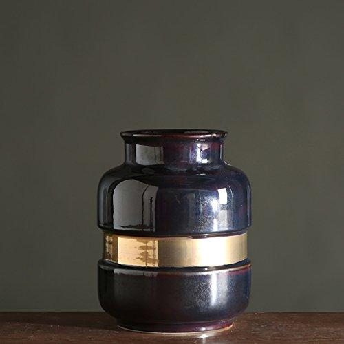 Vase de Fleur de Simulation en Céramique à la Maison Classique de Ceinture en Céramique glaçure Jaune ZHAOJING (Couleur : B, Taille : C)