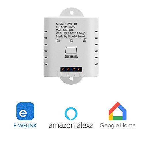 MiMoo Smart Wireless Wifi Schalter, Fernbedienung Smart Switch Lichtschalter funktioniert mit Amazon Alexa, Google Home, Google Nest, Smartphone APP für Hausgerät, LED-Anlage wachsen Lichter, Weiß (Fernbedienung Licht-schalter)