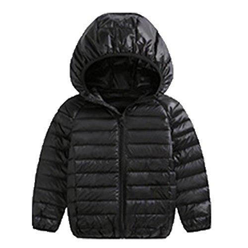 Ohmais Unisex Jungen Mädchen Winter Down Jacket verdickte Winterjacke Jungen Mantel verdickte Trenchcoat Jungen Outerwear mit Kapuzen Schwarz