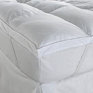 Soft white goose feather and down mattress topper / feather bed. 100% crisp cotton anti dustmite thick topper - double
