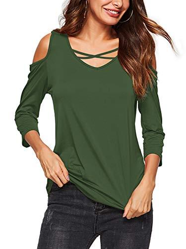 AMORETU Bluse T-Shirt Tops Mintgrün Criss Cross Blusen Tuniken V-Ausschnitt 3/4 Arm T-Shirts Schulterfrei Oberteile Damen Casual