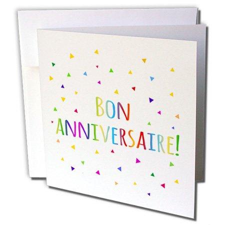 3drose Bon Jahrestage–Happy Birthday in French Grußkarten, 15,2x 15,2cm Set von 6(GC 202030_ 1)