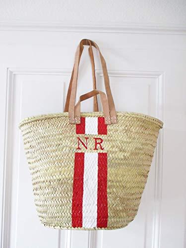 Korbtasche Personalisiert mit Monogramm Rot - Weiß | Helle Henkel | Namenstasche Initialbag Korb personalisiert Ibizakorb -