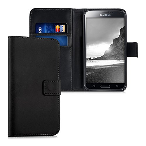 Kwmobile samsung galaxy s5 / s5 neo custodia portafoglio - cover a libro in simil pelle - flip case con porta carte per samsung galaxy s5 / s5 neo